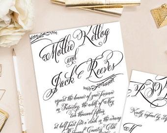 Mollie Printable Wedding Invitation (DIY Invitation), Fancy Script Invitation