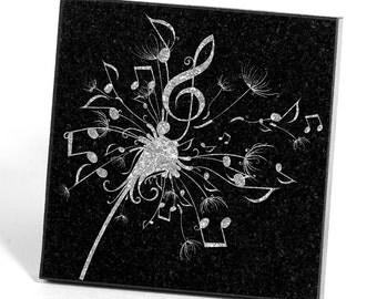 Dandelion Music Note Flower Coasters