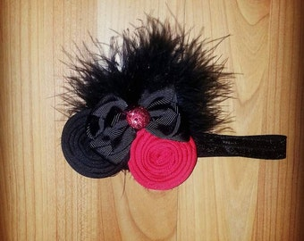 Black and Red Lady Bug Head Band- Girls