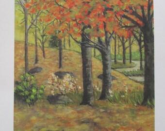 Autumn - Print of original acrylic on canvas - Free Shipping
