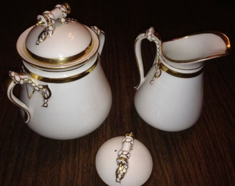 Havilland-Charles 1890 creamer and sugar with extra lid