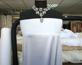 white stretch silk satin fabric, bridal silk lycra white satin, European production, 140cm wide