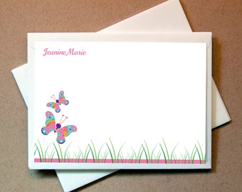 Butterfly Personalized Note Cards (15 flat cards and envelopes)