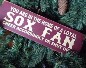 Red sox fan wooden sign Primitive .. ON SALE >>