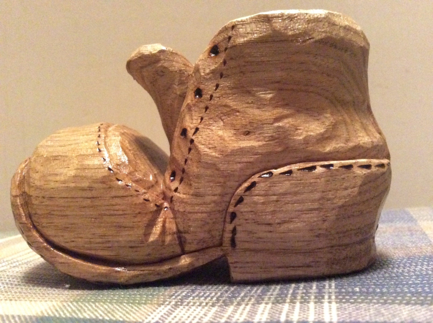 Whittled shoe hand carved butternut wood carving