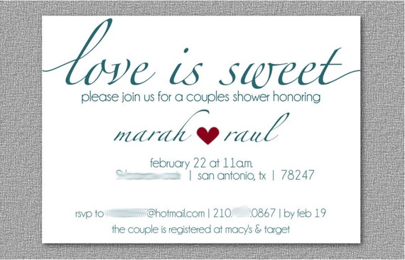 Wedding Shower Invitations For Couples: Couples Wedding Shower Invitation/Dessert Themed Wedding