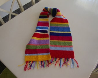 Hand Knitted Scarf Winter Wrap Multi Coulour Neck Warmer