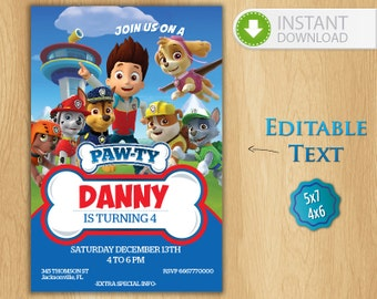 paw patrol invitation template free - paw patrol invitation editable text customizable paw