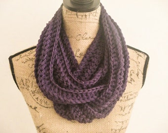 Ready to Ship! Infinity Crochet Scarf, Purple Crochet Scarf, Women's Crochet Scarf, Fall Scarf, Ribbed Crochet Scarf, Gifts for her