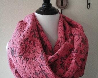 Beautiful Pink Lace Infinity Scarf