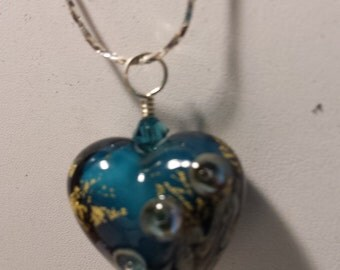 Lampwork glass heart with Sterling Silver Chain