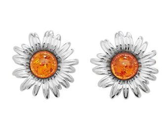 Eco friendly Silver Sunflower Amber Earrings