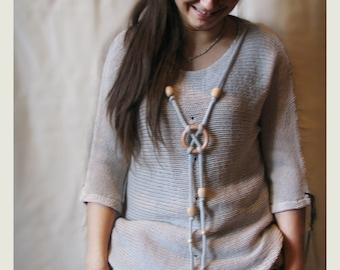 Grey merino wool sweater with short sleeves