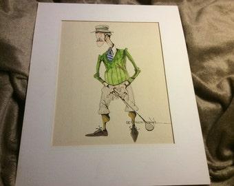 G. R. Cheesebrough ~ Golf Caricature ~ Original ~ Ink and Watercolor
