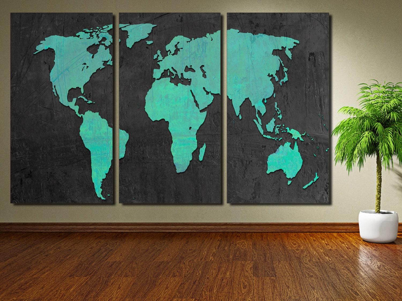 World Map Home Decor Turquoise World Map Etsy