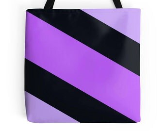 Purple Black Tote Bag, Purple Tote Bag, Purple Black Stripe Bag, Purple Black Purse, Purple Black Tote, Purple Tote, Purple Black Bag