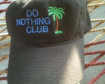 Do Nothing Club Cap- Black Floppy w/Blue Lettering