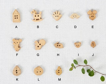 Wooden buttons,  natural wood buttons , children buttons, Cute cartoon wooden buttons,children animal wooden buttons--10 pcs