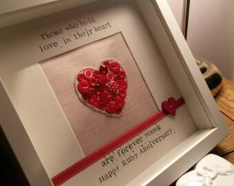 Framed Personalised Bespoke Ruby Anniversary Gift 40 Years Wedding