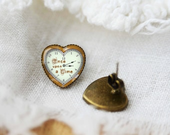 Once upon a time heart shaped earrings, silver plated or bronze stud posts, gift idea