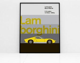 1972 Lamborghini Miura P400 SV poster.