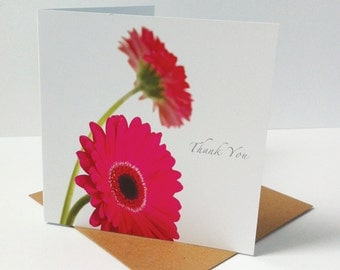 Pink Gerbera Thank You Card, Photographic Thank You Card, Note Card