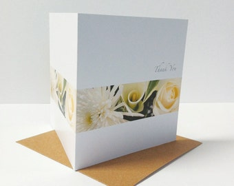 10 Flower Band Thank You Cards, Wedding Thank You Cards, Note Cards, Thank You Card Set, Thank You Card Pack