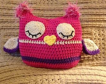 Cute Pink White Purple Crochet Sleepy Owl