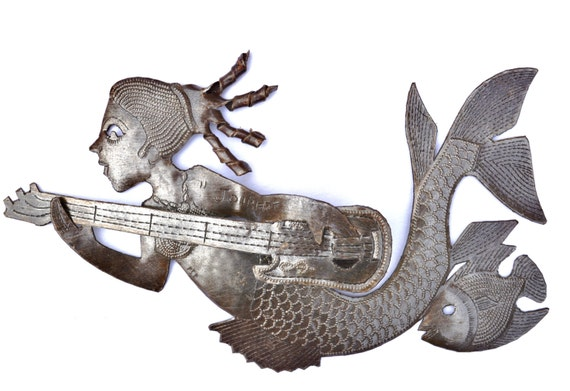 "Mermaid with a Guitar, Spiral Hair, Dimentional Sculpture, Haitian Recycled Metal Wall Art, 10 1/2"" x 6 1/2"""