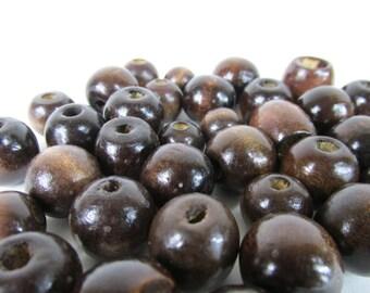 Round Wood Beads ~ Dark Brown ~ Assorted