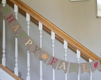 Happy Fall decor banner, leaves and colored letters