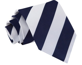 Striped Navy & White Tie