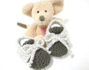 Brown and beige baby booties 0/3 mois Tricotmuse