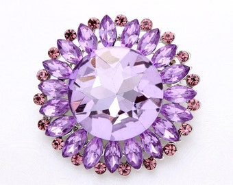 Lavender Wedding Brooch Crystal Light Purple Bouquet Brooches Bridal Sash Cake Neckalce DIY Jewelry Rhinestone Lavender Broaches