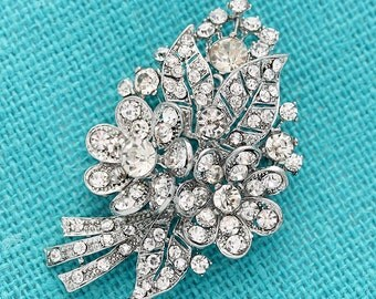 Wedding Brooch Bridal Bouquet Brooches Gown Sash Hair Comb Boutonniere DIY Jewelry Rhinestone Flower Broaches for Wedding