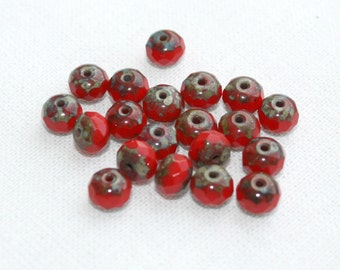 20 Red Picasso Czech Glass Rondelle