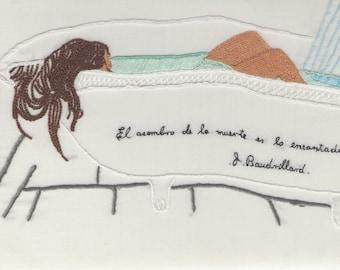 Girl in the bathtub, contemporary art embroidery -fiber art, textile art, wall art