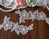 A Pair White Bridal Applique, Alencon Lace Applique, bridal headpiece applique, wedding applique, Bridal hair flowers accessories