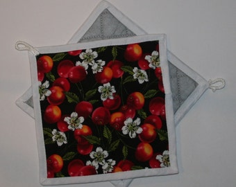 Potholder In Cherries And Blooming  Free shipping