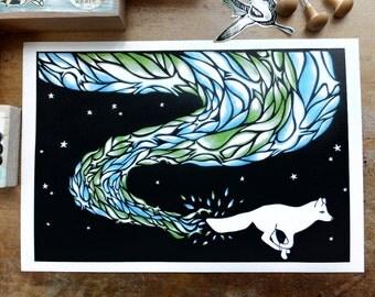 The Firefox, A4 digital print - fox print, arctic fox print, northern lights print, aurora borealis print