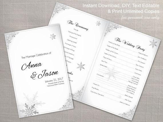 diy printable wedding program template editable ms word file