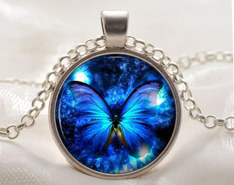 Blue Butterfly Necklace - Butterfly Pendant - Blue Jewelry Gift for Women and Girls