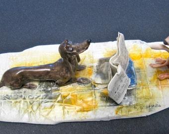 """Colombo Original Sculpture """"Two Dogs With Music"""" Lo Scricciolo 1985"""