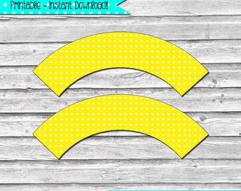 Yellow and White Polka Dot Printable Cupcake Wrapper Set –  DIY printable party supplies – birthdays & showers - INSTANT DOWNLOAD