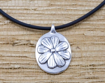 Silver cosmos pendant, sterling, rubber cord, October flower of the month, October birth month flower
