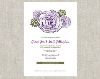 Ranunculus Artichoke Floral Printable Wedding Invitation  - Digital Download