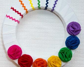 "14"" Wreath  Rainbow Bright"