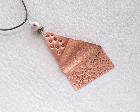 Unique Modern Copper Pendant, Artful Boho Design, Hematite Rondelle, Original Design, Runway Copper Pendant, Hammered Urban Boho Jewelry