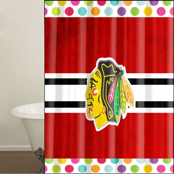 Custom Shower Curtain Chicago Blackhawks Designed To Fit 66 W X 72 H Type 11001