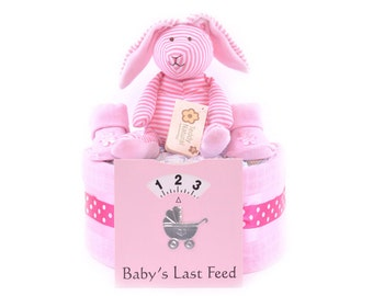 Pink Single Tier Deep Filled girls new Baby Shower Nappy Cake Gift hamper